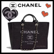 CHANEL DEAUVILLE Casual Style Unisex Canvas A4 2WAY Totes