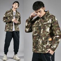 Camouflage Street Style Long Sleeves Cotton Oversized