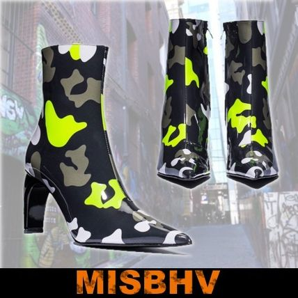 Camouflage Street Style Leather Block Heels High Heel Boots