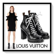 Louis Vuitton Lace-up Casual Style Plain Leather Block Heels Lace-up Boots