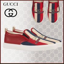 GUCCI Sylvie Stripes Unisex Street Style Leather Loafers & Slip-ons