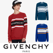 GIVENCHY Crew Neck Stripes Unisex Sweat Street Style Long Sleeves