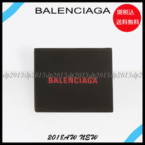 BALENCIAGA Unisex Blended Fabrics Plain Leather Folding Wallets