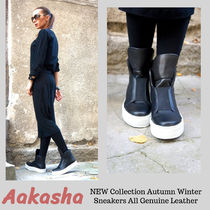 Aakasha Rubber Sole Casual Style Street Style Plain Leather Handmade