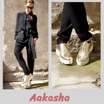 Aakasha Platform Plain Leather Handmade Platform & Wedge Sneakers