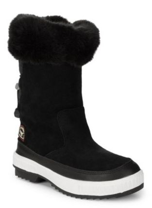 Casual Style Faux Fur Plain Mid Heel Boots