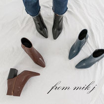 Faux Fur Plain Block Heels Party Style Ankle & Booties Boots