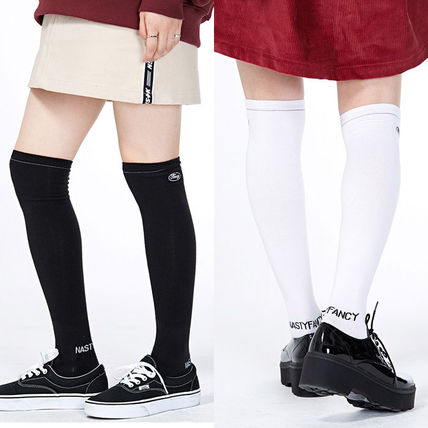 Street Style Plain Cotton Socks & Tights