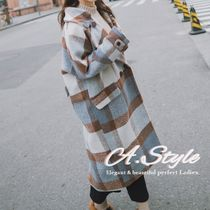 Other Check Patterns Casual Style Long Oversized