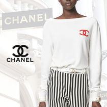 CHANEL Casual Style Cashmere Rib Blended Fabrics Street Style