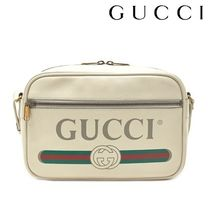 GUCCI Unisex Street Style A4 Leather Oversized