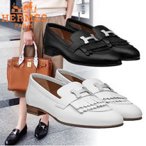 HERMES Plain Toe Plain Leather Fringes Elegant Style