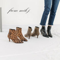 Leopard Patterns Casual Style Suede Street Style Pin Heels