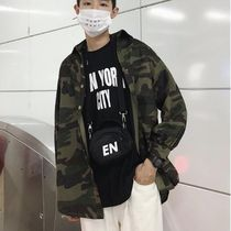 Button-down Camouflage Unisex Street Style Long Sleeves