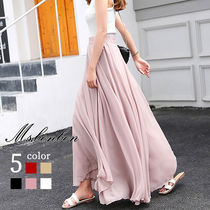 Flared Skirts Casual Style Chiffon Plain Long Maxi Skirts