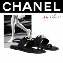 CHANEL ICON Casual Style Blended Fabrics Street Style Plain Sandals
