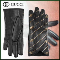 GUCCI Stripes Leather Leather & Faux Leather Gloves