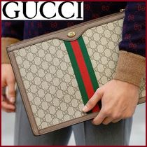 GUCCI Unisex Canvas Street Style Clutches