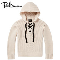 Ron Herman Cable Knit Casual Style Unisex Wool V-Neck Long Sleeves