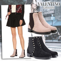 VALENTINO Round Toe Suede Plain Chelsea Boots Ankle & Booties Boots