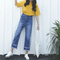 Casual Style Denim Plain Long Fringes Wide & Flared Jeans