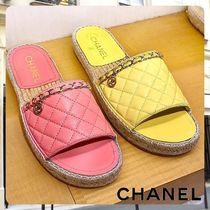 CHANEL Open Toe Rubber Sole Blended Fabrics Chain Leather