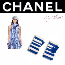 CHANEL ICON Stripes Plain Leather Handmade Elegant Style