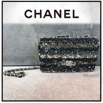 CHANEL Stripes 2WAY Chain Elegant Style Shoulder Bags