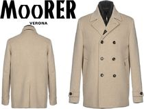 MOORER Cashmere Street Style Plain Long Dark Brown Chester Coats