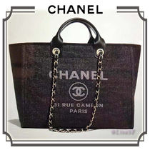 CHANEL DEAUVILLE Nylon A4 2WAY Chain Plain Elegant Style Totes