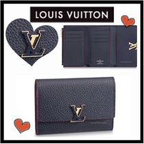 Louis Vuitton CAPUCINES Unisex Calfskin Bi-color Plain Folding Wallets