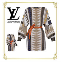 Louis Vuitton Casual Style Tight Puffed Sleeves Boat Neck Cotton Dresses