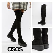 ASOS Casual Style Faux Fur Plain Over-the-Knee Boots