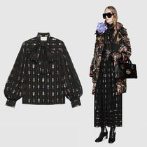 GUCCI Stripes Dots Puffed Sleeves Elegant Style Shirts & Blouses