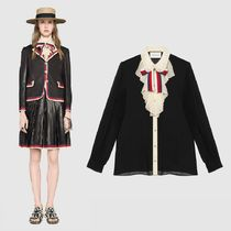 GUCCI Silk Bi-color Long Sleeves Elegant Style Shirts & Blouses
