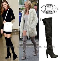 Steve Madden Plain Toe Casual Style Faux Fur Plain Over-the-Knee Boots