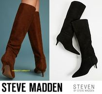 Steve Madden Suede Plain Elegant Style Mid Heel Boots