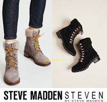 Steve Madden Mountain Boots Rubber Sole Casual Style Suede Plain