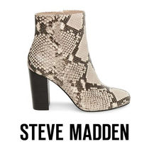 Steve Madden Round Toe Leather Block Heels Party Style Python
