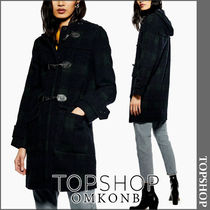 TOPSHOP Other Check Patterns Casual Style Wool Long Duffle Coats