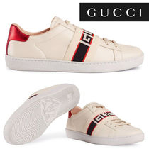 4f1aca444b5 GUCCI Ace Stripes Wedge Round Toe Casual Style Street Style Leather