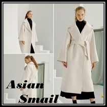 Casual Style Wool Plain Long Oversized Wrap Coats