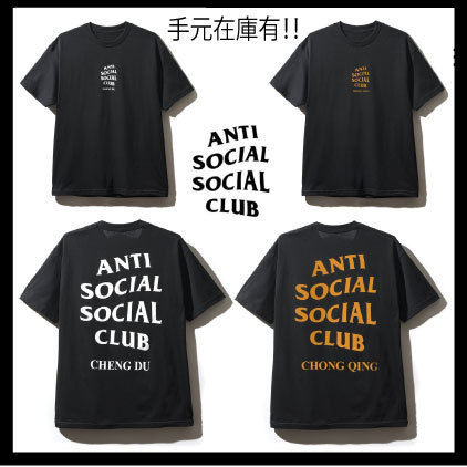 ANTI SOCIAL SOCIAL CLUB Crew Neck Crew Neck Unisex Street Style Plain Cotton Short Sleeves