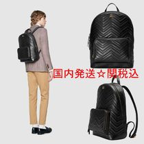 GUCCI Unisex Calfskin Street Style A4 Bi-color Plain Backpacks