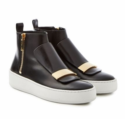 Round Toe Rubber Sole Leather Low-Top Sneakers