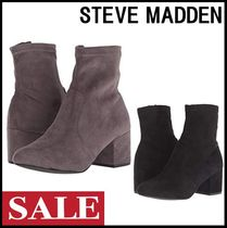 Steve Madden Casual Style Suede Plain Block Heels Ankle & Booties Boots