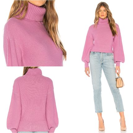 Rib Plain Medium Puff Sleeves Turtlenecks