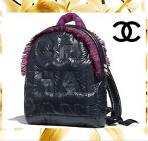 CHANEL Casual Style Nylon Blended Fabrics A4 Plain Backpacks