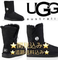 UGG Australia BAILEY BUTTON Round Toe Casual Style Suede Plain Logo Flat Boots