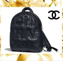 CHANEL Casual Style Unisex A4 Plain Leather Backpacks